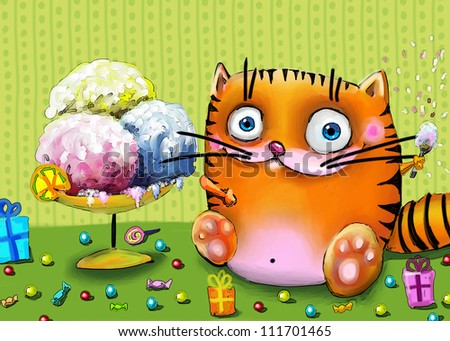 Cat eating ice-creame and candies - stock photo