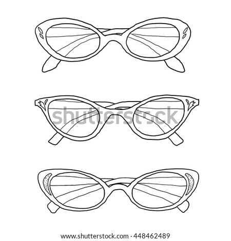 cat eye vintage glasses hand drawn line art illustration