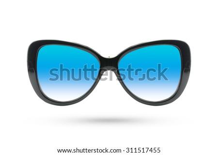 Cat eyes Fashion glasses style isolated on white background. - stock photo