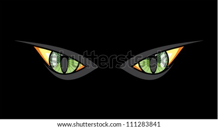 Cat eyes in dark night - stock photo