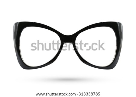 Cat eyes masquerade fashion glasses style isolated on white background. - stock photo