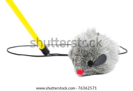 Cat Fishing Toy - Mouse on Rope with Pole on White Background - stock photo