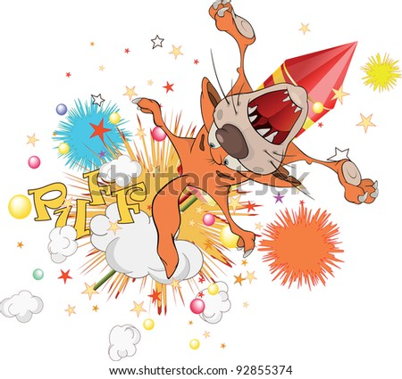 Cat flying on fireworks - stock photo