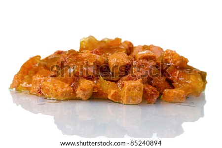 Cat food closeup isolated on white - stock photo