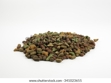 Cat food isolated on white - stock photo