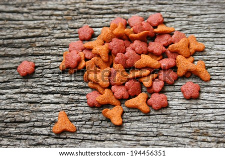 cat food on wooden - stock photo