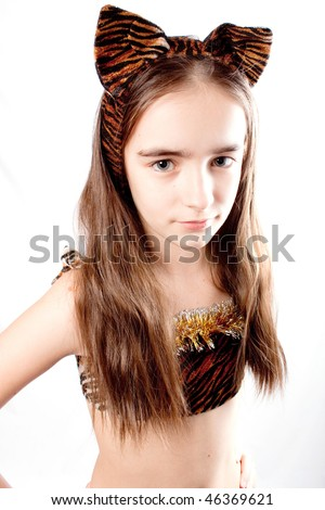 Cat girl. Tiger carnival  costume. Isolated. - stock photo
