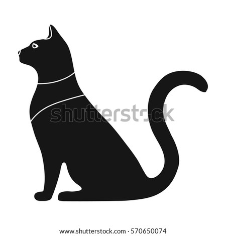Cat Goddess Bastet Icon Black Style Stock Illustration 570650074