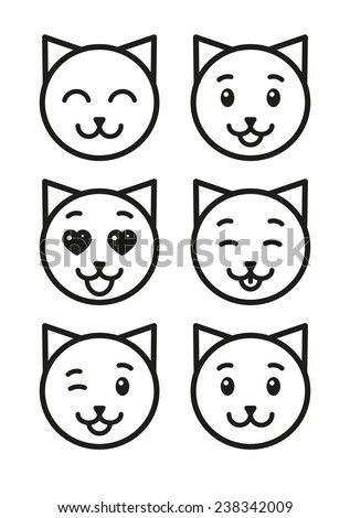 Cat icons set - stock photo