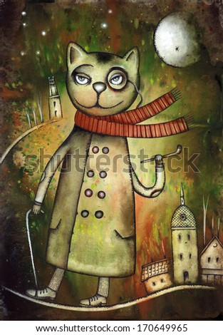 Cat illustration - stock photo
