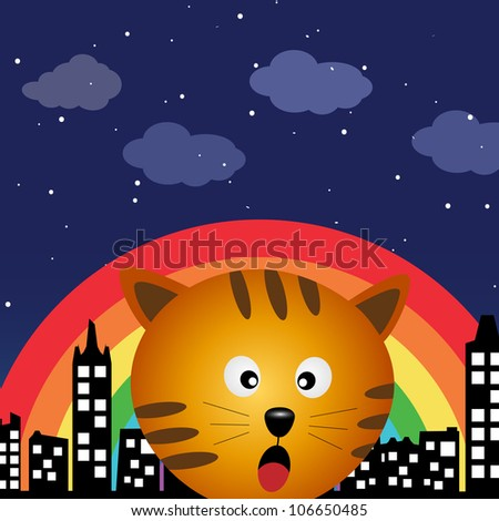 Cat in the city at night with rainbow - stock photo