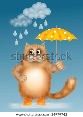 Cat in the rain with an umbrella.  Illustration