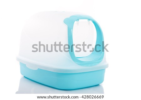 Cat litter box on white background isolated - stock photo