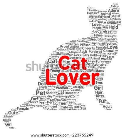 Cat lover word cloud shape concept - stock photo