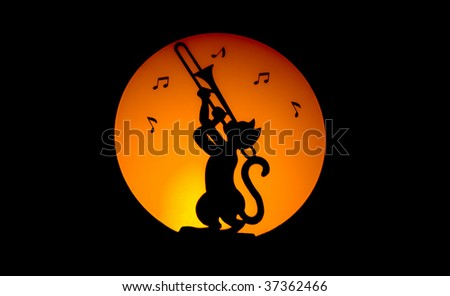 Cat making music by night with moon on the background
