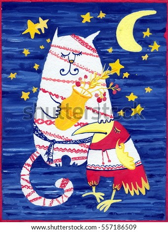 cat, moon, sky, space, stars, textile