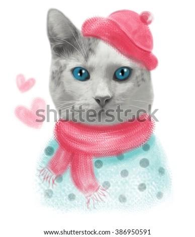 Cat print,cat graphic,cat illustration,cat canvas print,cat pattern,cat design,cat graphic,cat wallpaper,adorable cat,Funny cat,T-shirt Print,i love you,Valentine's Day,animal print,pink cat  - stock photo