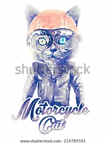 cat print / T-shirt graphics / cat watercolor illustration / biker cat graphics - stock photo
