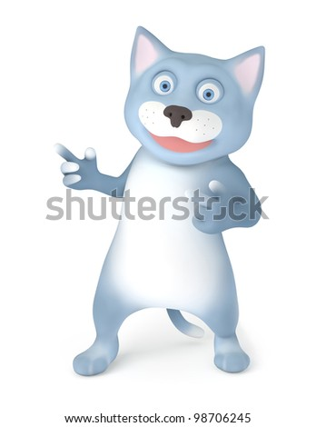 Cat shows gesture isolated on white - stock photo