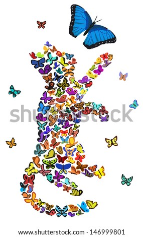 Cat silhouette composed of butterflies. Bitmap copy.