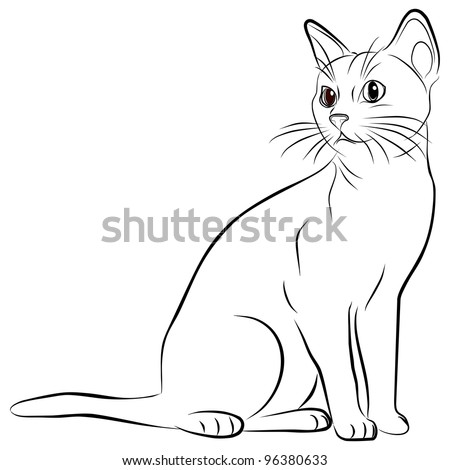 cat silhouette on a white background - stock photo