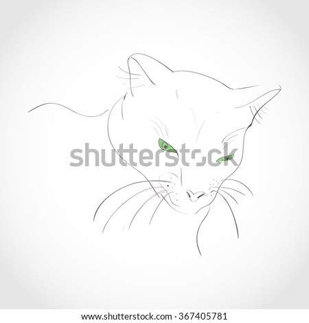 Cat. Sketch. Black and white image. - stock photo