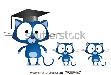 Cat teacher and pupils isolated on white background