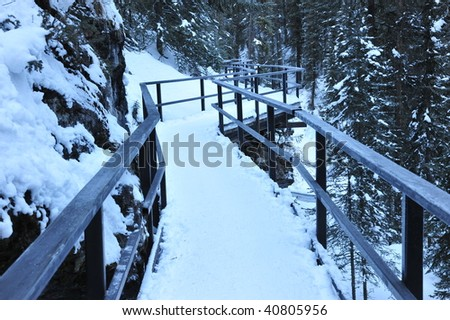 Cat walk in winter johnston canyon, banff national park, alberta, canada - stock photo