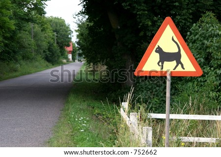 Cat warning sign - stock photo