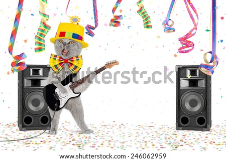 Cat with guitar in middle of confetti and streamer - stock photo