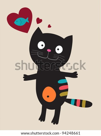 Cat with heart and fish. Vector illustration - stock photo