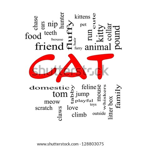 Cat Word Cloud Concept in red caps with great terms such as feline, tabby, food, nip and more.
