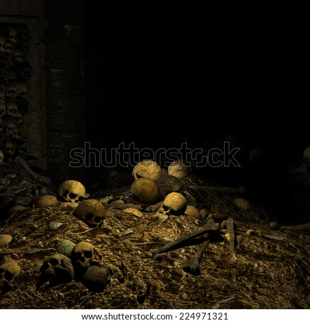 Catacombs - piles of skulls and other human remains littered about.  Happy Halloween. - stock photo