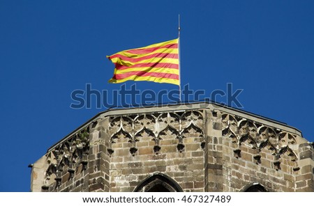 Catalan Flag on the building of the Spanish national bank in Barcelona, Spain