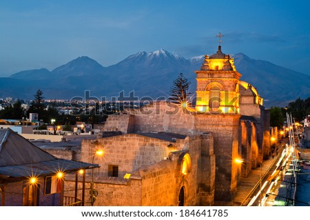 catalina convent arequipa street view during the golden hour  - stock photo