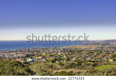 Catalina Island taken from Misty Ridge in San Clemente California - stock photo