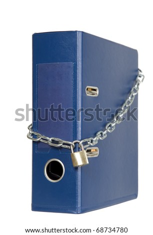 Catalogs of documents are locked with chain - stock photo