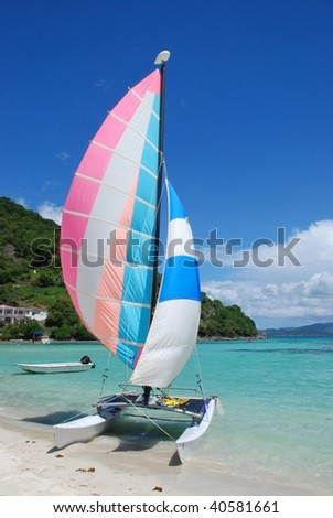 Catamaran at Great Harbour Jost Van Dyke BVI with St John in the Background