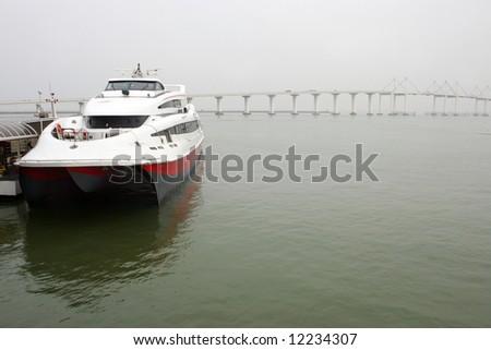 Catamaran ferry in Macau harbor, Macau - stock photo