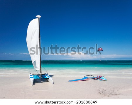 catamaran in the caribbean sea, dominican republic  - stock photo