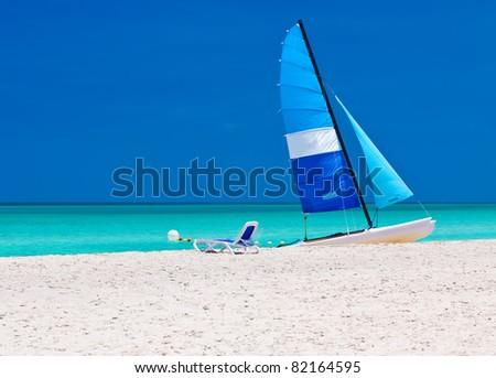 Catamaran landed on the beautiful beach of Varadero in Cuba - stock photo