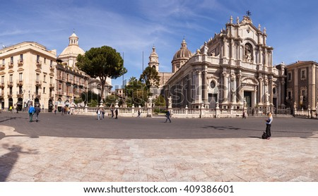 CATANIA, ITALY - MARCH, 31: View of Catania cathedral in Sicily on March 31, 2016