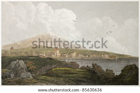 Catania old view. Sicily. Created by De Wint and Hearth, printed by McQueen, publ. in London, 1821. Ed. on Sicilian Scenery, Rodwell and Martins, London, 1823 - stock photo