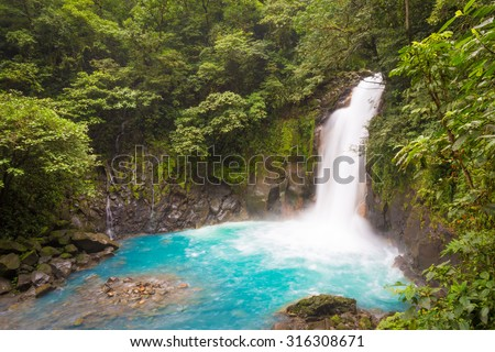 Catarata del Rio Celeste, Azul, Tenorio National Park, Costa Rica - stock photo
