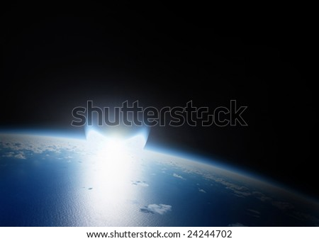 Catastrophe by Asteroid impact on Earth that can destroy the planet. Explosion is a bright flare. Dark space in the background - stock photo
