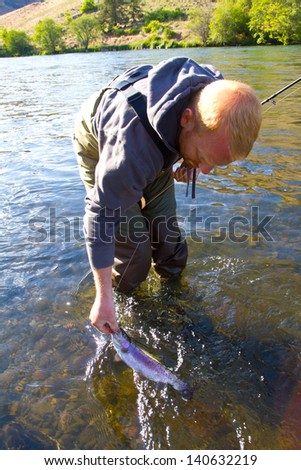 Catch and release fishing is a great sustainable way to enjoy angling yet leaving fish like this native rainbow trout redside for years to come. - stock photo