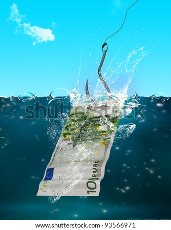 Catch of the day -Catching 100 Euro with a hook- - stock photo