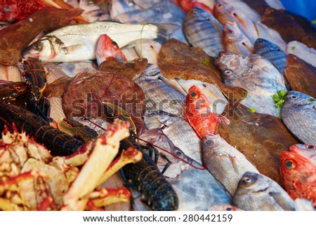 Catch of the day - fresh fish and lobster - on a traditional Moroccan market (souk) in Essaouira, Morocco - stock photo
