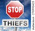 catch thiefs no theft arrest by police investigation or neighborhood watch online internet thief - stock photo