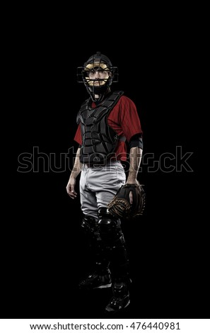 Catcher Baseball Player with a red uniform on a black background.